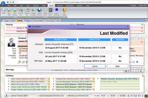 Last Modified dialog box