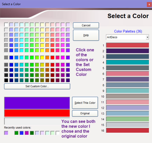 Select a Color dialog box