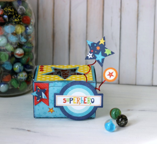 "Superhero favor box by Holly Gagnon with the ""Little Man"" collection by #EchoParkPaper"