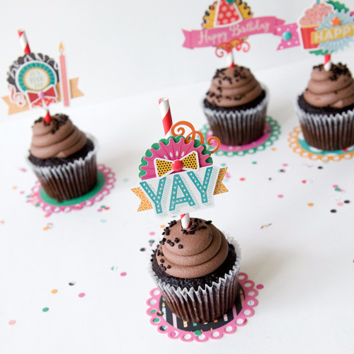 """Cupcake toppers and coasters by Tegan Skwiat with designer dies and the """"Party Time"""" collection by #EchoParkPaper"""