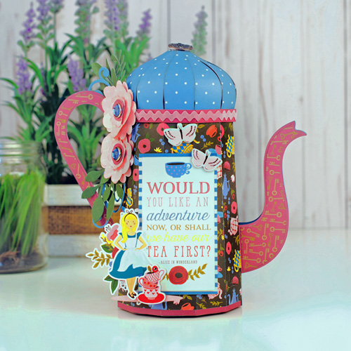 "Paper Tea Kettle gift box by Jana Eubank featuring the ""Alice in Wonderland"" collection by #EchoParkPaper"