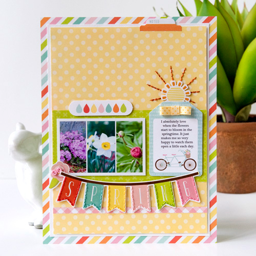"Stitched ""Spring"" layout by Tegan Skwiat for #EchoParkPaper"