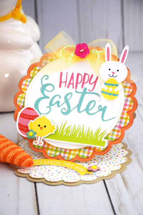 "Happy Easter easel card by Tya Smith with the ""Celebrate Easter"" collection by #EchoParkPaper"