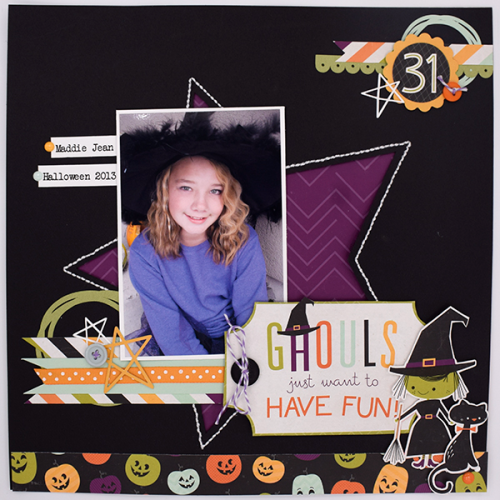 """Ghouls Just Want to Have Fun"" Scrapbook layout by Tya Smith for #EchoParkPaper with the ""Halloween Town"" collection kit"