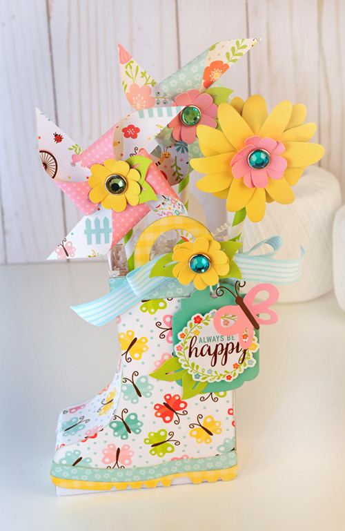 "Rainboot filled with flowers and pinwheels by Jana Eubank with the ""Hello Spring"" collection by #EchoParkPaper"