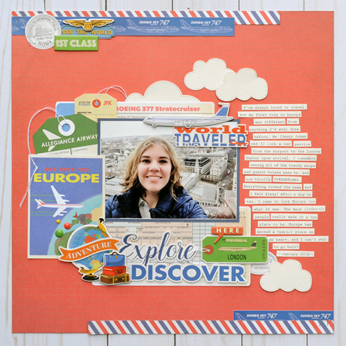 "Explore and Discover Layout by Jana Eubank featuring the ""Passport"" collection by #CartaBellaPaper"