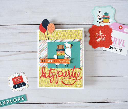 "Party Card by Wendy Sue Anderson featuring the ""Pack Your Bags"" Collection by #CartaBellaPaper"