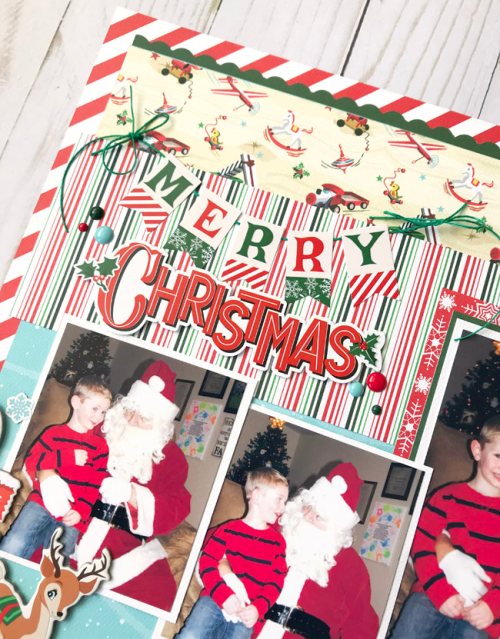 "Merry Christmas layout by Tya Smith featuring the ""Santa's Workshop"" collection by #CartaBellaPaper"