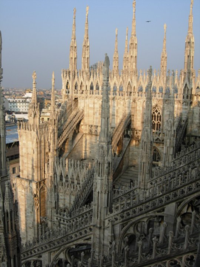 The Duomo in Milan (taken from the roof of the Duomo) at sunset