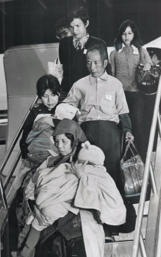 Vietnamese refugees arrive at Dorval Airport in Montreal, 1978