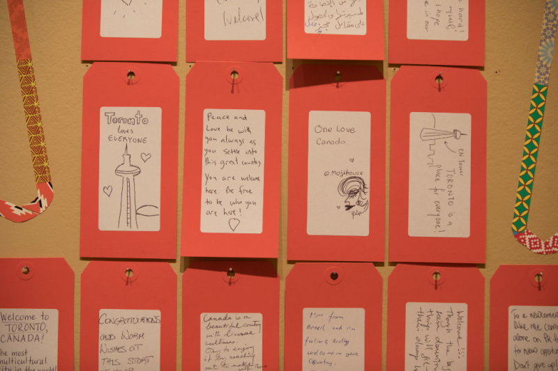 Notes of welcome in Destination Canada exhibit