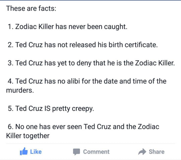 Is it fair to ask if Ted Cruz is the Zodiac? - Philosophical ...