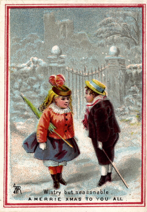 Two children in formal clothing stand on a snowy street