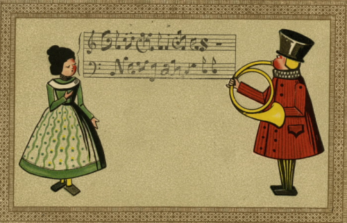 A female toy is singing the notes in German that read Happy New Year to a male toy who is playing a horn