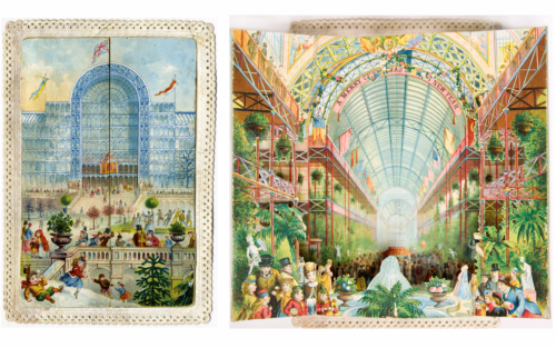 On the left is the closed card showing the outside of the building  on the right is the same card opened to reveal a colourful interior the same building