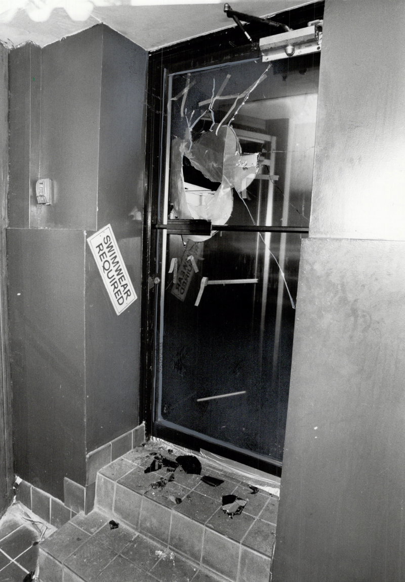 Smashed door at The Club after the police raid in 1981